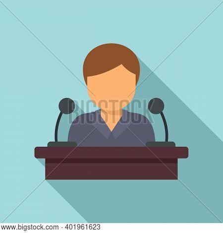 Pr Specialist Speaker Icon. Flat Illustration Of Pr Specialist Speaker Vector Icon For Web Design