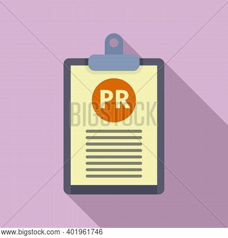 Pr Clipboard Icon. Flat Illustration Of Pr Clipboard Vector Icon For Web Design