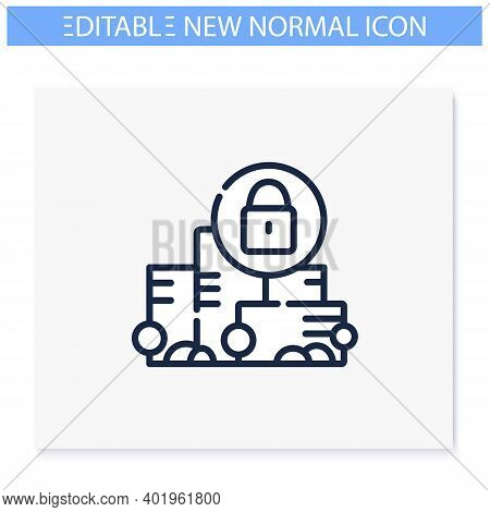 Total Lockdown Line Icon.new Normal Concept. Quarantine In City. Staying Home, Social Isolation. New
