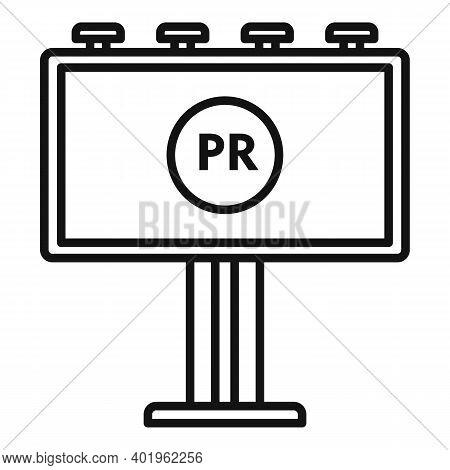 Pr Specialist Billboard Icon. Outline Pr Specialist Billboard Vector Icon For Web Design Isolated On
