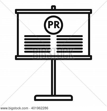 Pr Company Banner Icon. Outline Pr Company Banner Vector Icon For Web Design Isolated On White Backg