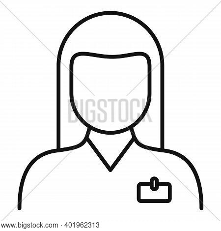 Pr Woman Specialist Icon. Outline Pr Woman Specialist Vector Icon For Web Design Isolated On White B