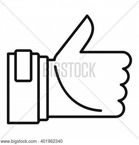 Pr Thumb Up Icon. Outline Pr Thumb Up Vector Icon For Web Design Isolated On White Background