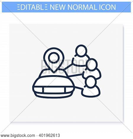 Car Sharing Line Icon. New Normal Concept. Car To Share. Rent.mutual Aid In Lockdown. Charity, Volun
