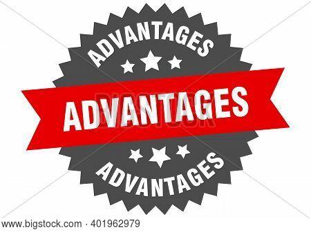 Advantages Sign. Advantages Circular Band Label. Round Advantages Sticker