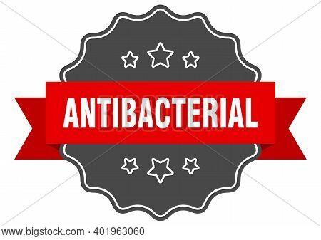 Antibacterial Label. Antibacterial Isolated Seal. Retro Sticker Sign