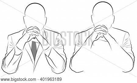 Silhouette Of A Man In A Jacket Sitting With Folded Hands