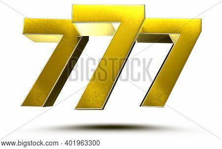777 Numbers 3d Illustration On White Background With Clipping Path.