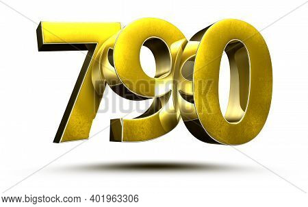 790 Numbers 3d Illustration On White Background With Clipping Path.