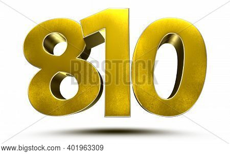 810 Numbers 3d Illustration On White Background With Clipping Path.