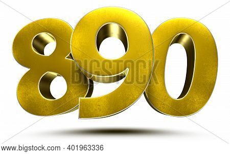890 Numbers 3d Illustration On White Background With Clipping Path.