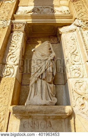Headless Woman Figure On Wall In Ephesus Ancient City