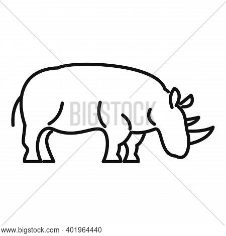 Rhino Zoo Icon. Outline Rhino Zoo Vector Icon For Web Design Isolated On White Background