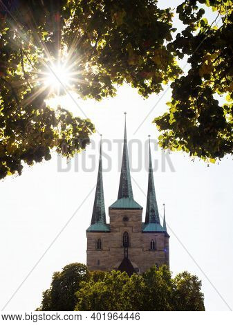 Severikirche St Severus Church Gothic Cathedral With Three Towers Domberg Historic Centre Erfurt Thu