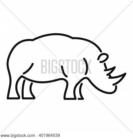 Rhino Attack Icon. Outline Rhino Attack Vector Icon For Web Design Isolated On White Background