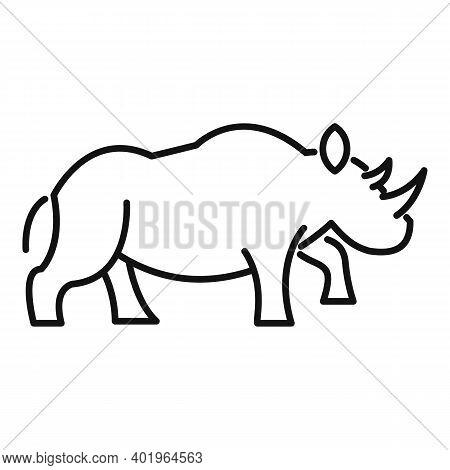 Rhino Wild Icon. Outline Rhino Wild Vector Icon For Web Design Isolated On White Background