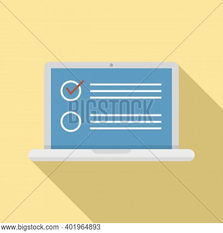 Sociology Laptop Icon. Flat Illustration Of Sociology Laptop Vector Icon For Web Design