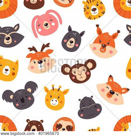 Forest Seamless Pattern With Cute Animals. Pattern. Vector Illustration Isolated On White Background