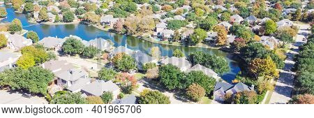 Panoramic Top View Upscale Lakeside Neighborhood With Colorful Autumn Leaves In Coppell, Texas, Usa