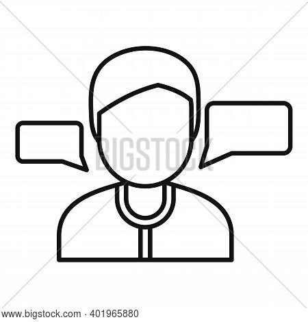 Sociology Conversation Icon. Outline Sociology Conversation Vector Icon For Web Design Isolated On W