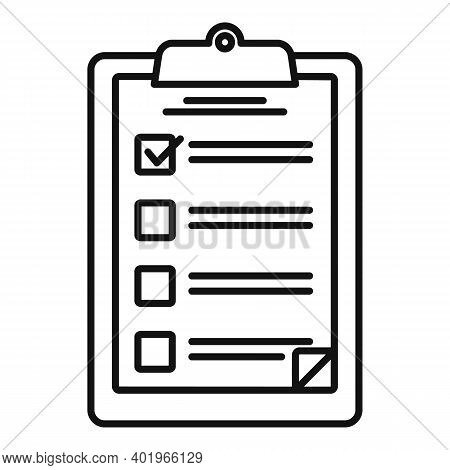 Sociology Clipboard Icon. Outline Sociology Clipboard Vector Icon For Web Design Isolated On White B