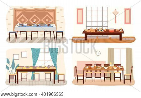 Set Of Dining Room Design Flat Vector. Dining Table With Food And Chairs Nearby. Furniture Model For