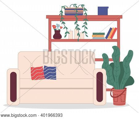 Cozy Interior Of Room At Home. Comfortable Beige Sofa With Pillows, Houseplant, Rack With Decoration