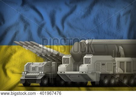 Rocket Forces On The Ukraine Flag Background. Ukraine Rocket Forces Concept. 3d Illustration