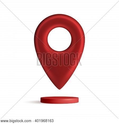 Red Map Pointer Isolated On White Background. Find Address, Location Icon Concept. Gps 3d Pointer. V