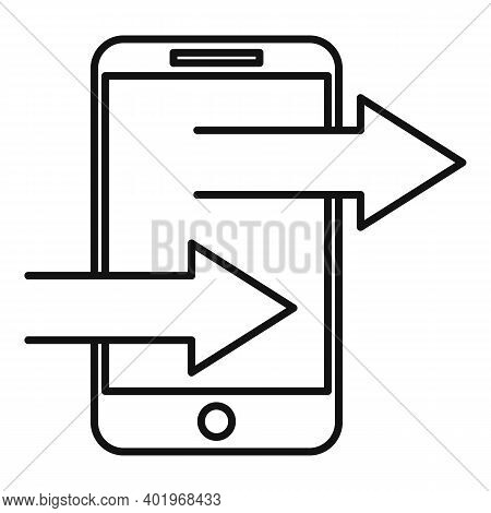 Phone Sends Links Icon. Outline Phone Sends Links Vector Icon For Web Design Isolated On White Backg
