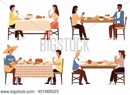 Set Of Illustrations On The Theme Of Eating National Dishes. Meals Of World Cuisines On The Table. C