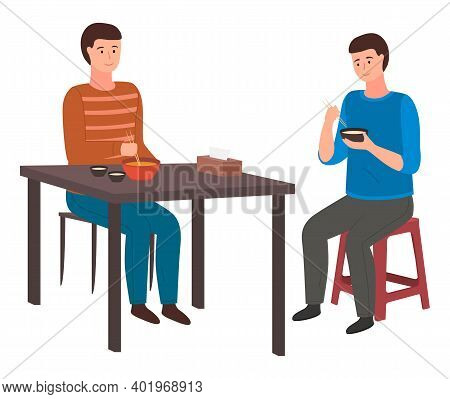 Young Men Eating Rice With Chopsticks. Male Characters Siting On A Chair Holding Plate Of Rice In Hi