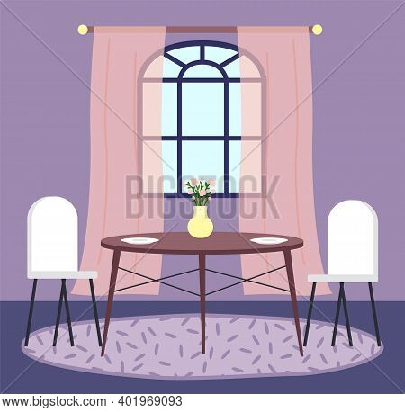 Flat Illustration Of Home Interior. Cozy Corner Of The Room Near Window With Chairs And Table With A