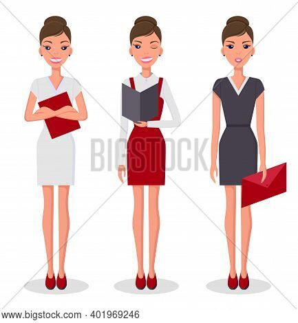 Business Woman Set In Different Poses Vector Illustration. Pretty Young Slim Woman Character In Busi