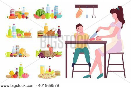 Mother And Son Cook Food. Flat Style Family Working In The Kitchen. Set Of Products Ingredients Sign