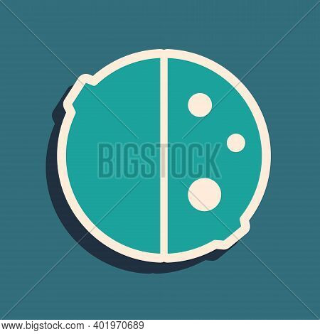 Green Eclipse Of The Sun Icon Isolated On Green Background. Total Sonar Eclipse. Long Shadow Style.