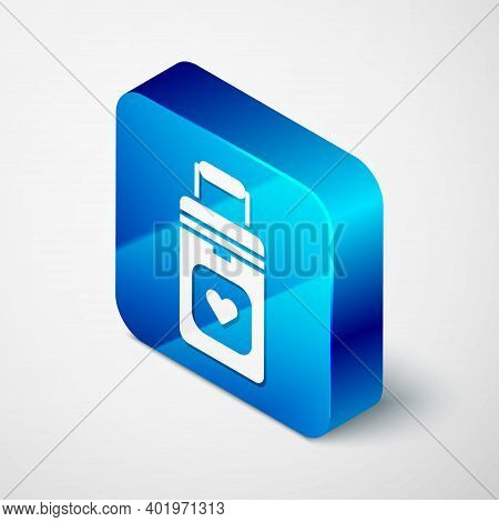 Isometric Cooler Box For Human Organs Transportation Icon Isolated On Grey Background. Organ Transpl