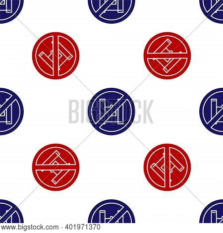 Blue And Red Say No To Plastic Bags Poster Icon Isolated Seamless Pattern On White Background. Dispo