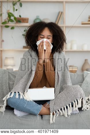 Ill Upset Lady Hold Paper Tissue, Blowing Running Nose And Sneezing. Young African American Female G