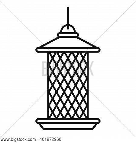 Cylinder Bird Feeders Icon. Outline Cylinder Bird Feeders Vector Icon For Web Design Isolated On Whi