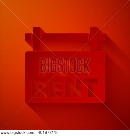 Paper Cut Hanging Sign With Text For Rent Icon Isolated On Red Background. Signboard With Text For R