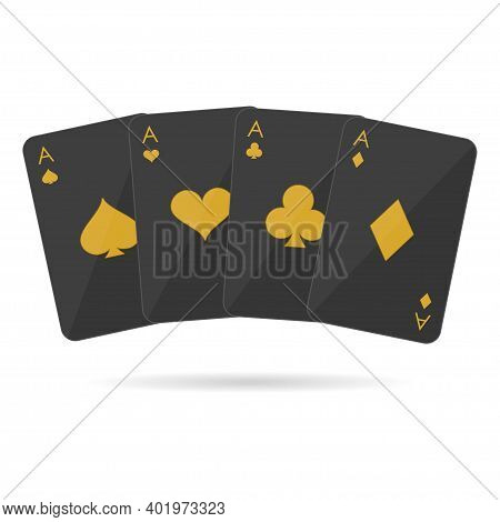 Set Of Black Four Aces Playing Card With Golden Symbols - Hearts, Spades, Diamonds, Clubs. A Winning
