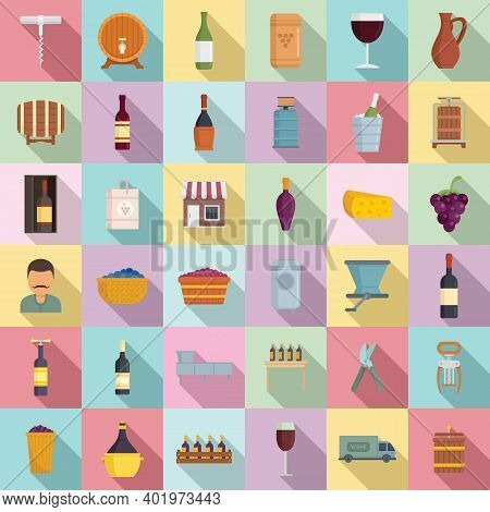 Winemaker Icons Set. Flat Set Of Winemaker Vector Icons For Web Design