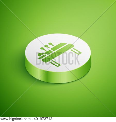 Isometric Acupuncture Therapy Icon Isolated On Green Background. Chinese Medicine. Holistic Pain Man