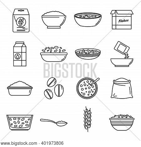 Breakfast Cereal Flakes Icons Set. Outline Set Of Breakfast Cereal Flakes Vector Icons For Web Desig
