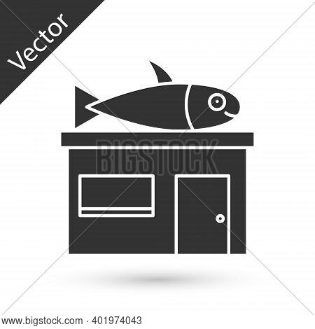 Grey Seafood Store Icon Isolated On White Background. Facade Of Seafood Market. Vector.