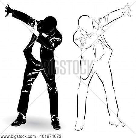 Silhouette Of A Man In A Business Suit Defends Himself With His Hands From A Threat