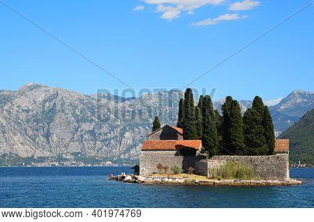 St. George Island In Boka Kotorska Bay With Mountains On Background, Montenegro