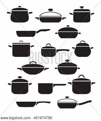 Vector Set Of Kitchen Utensils. Collection Black And White Pots And Pans With Lids.