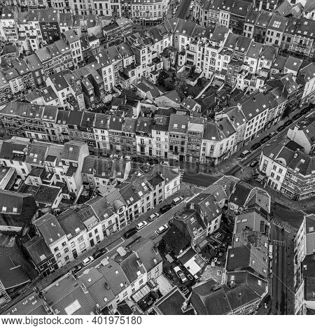 Brussels, Belgium,  January 3, 2021:    Old town of Brussels view from above